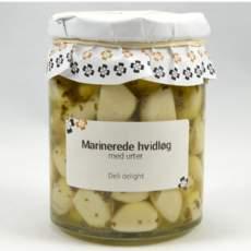 salg af Marinerede hvidløg m. urter